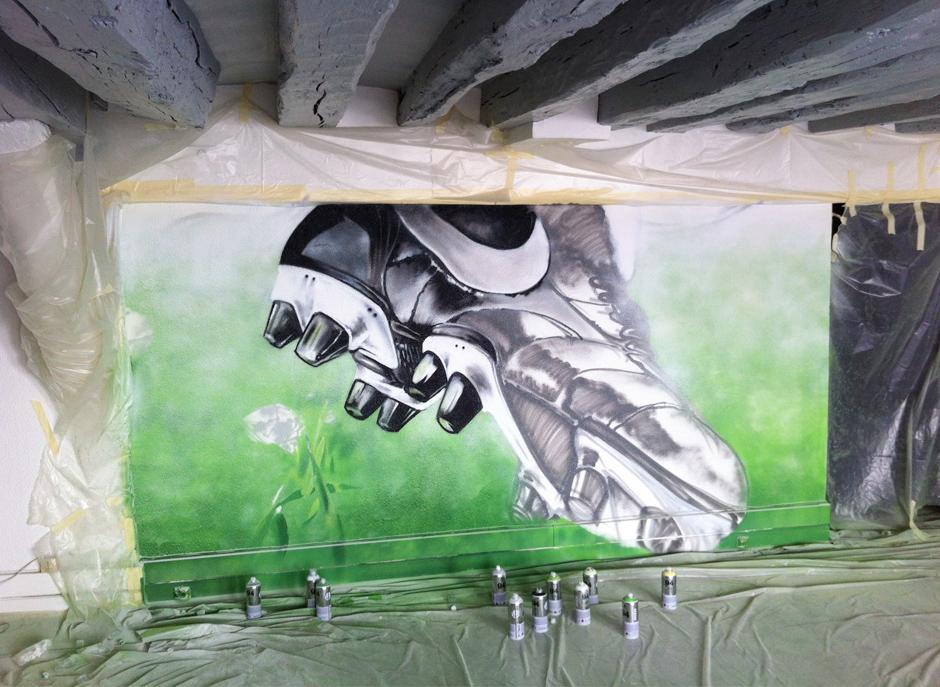 Rendu, réaliste, bombe, peinture, graff, tag, street art, deco, foot