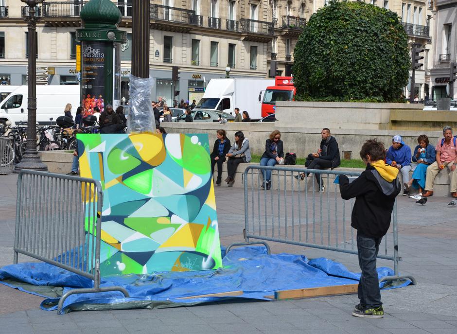 Rue, Paris, graffiti, performance, live, prestation, événementiel, toile, hôtel De ville