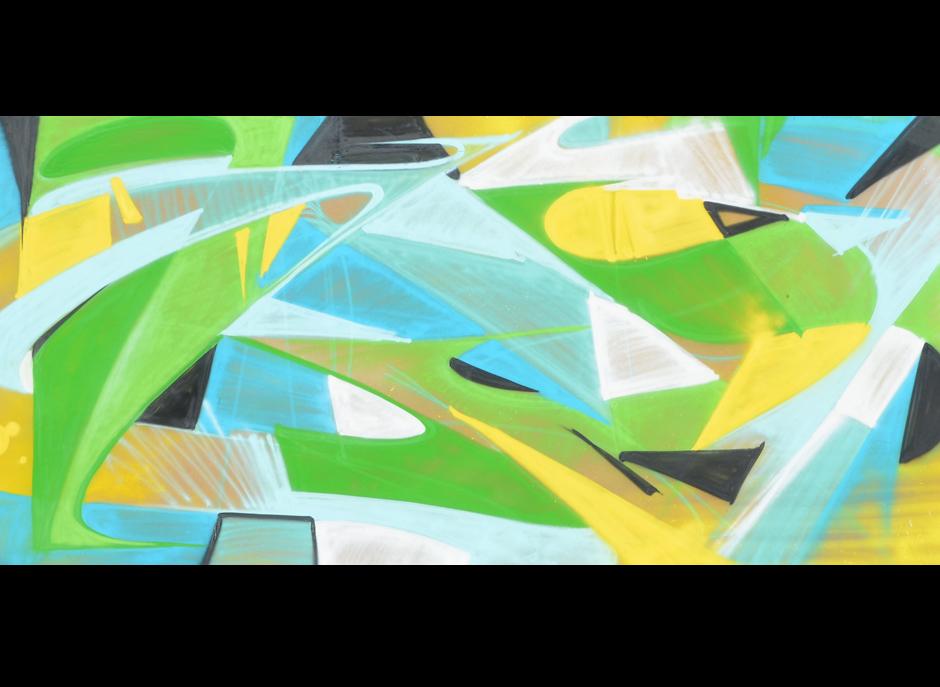 bleu, vert, blanc, noir, couleurs, estivales, festival, plein air, W, abstrait