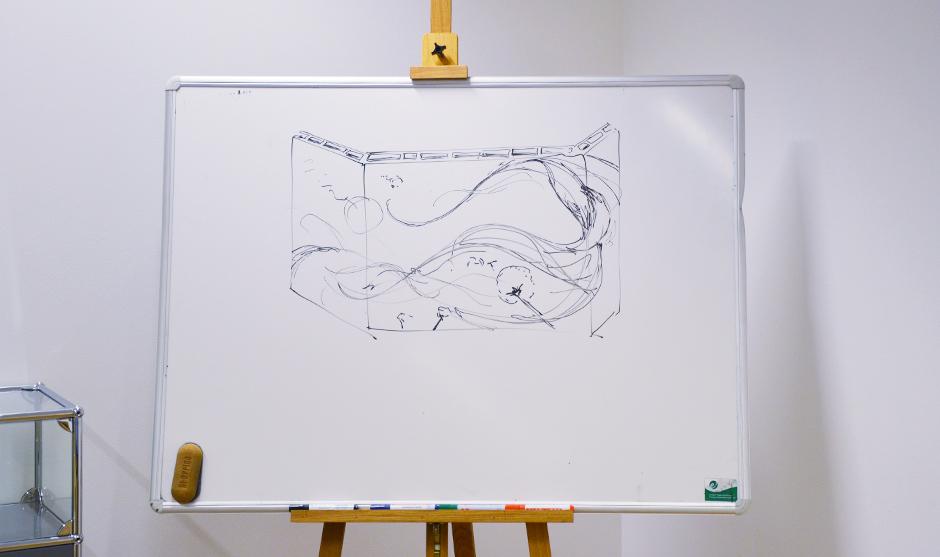 sketchs, roughs préparatifs de l'artiste décorateur