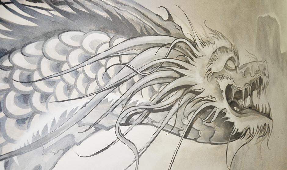 Tête, gueule grande ouverte de ce dragon traditionnel chinois