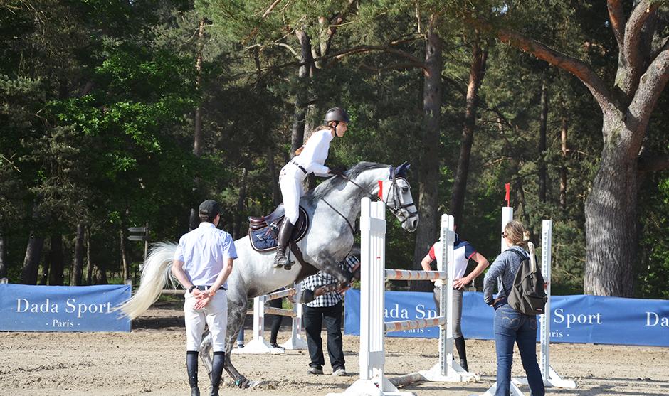 cavalière et cheval pendant un franchissement d'obstacle