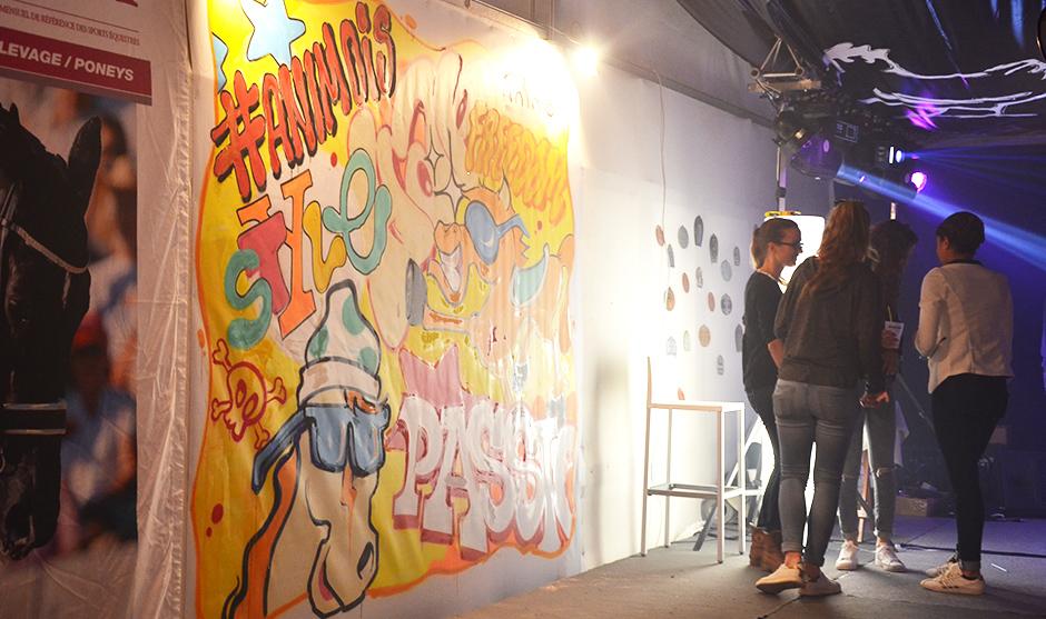 fresque graffiti live au cours de la soirée