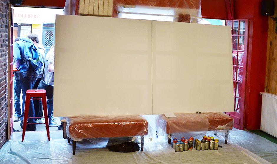 toiles en lin prêtes à se faire graffitiser, street artiser
