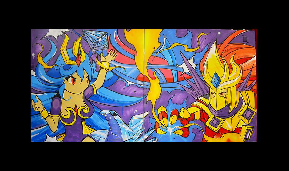 diptyque peint pour l'anniversaire du jeu vidéo