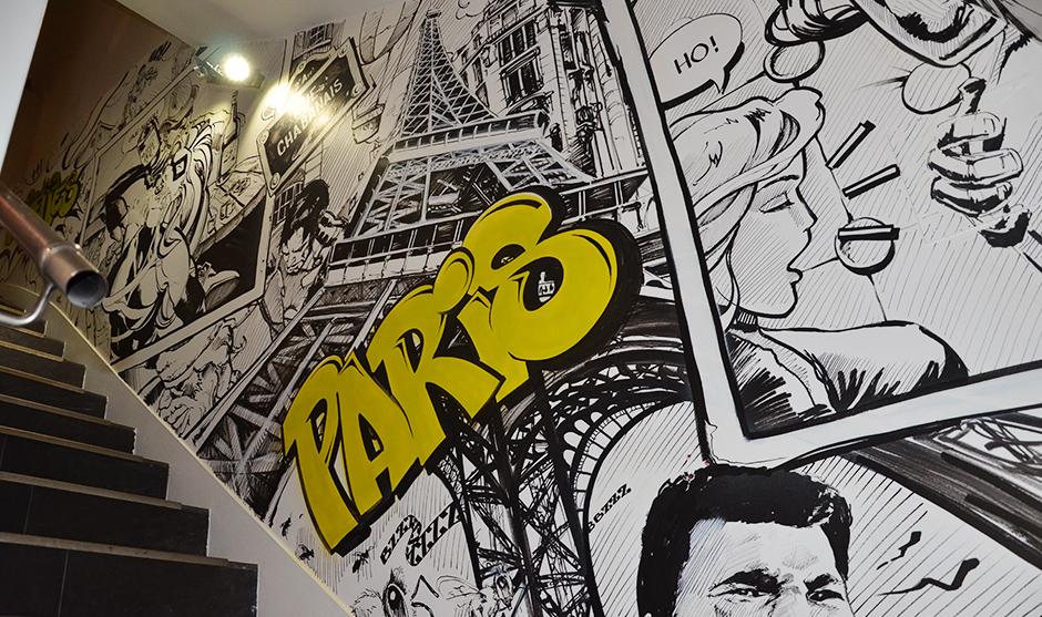 tour eifel, graffiti, graffeur, typographie, illustration, mise en scène