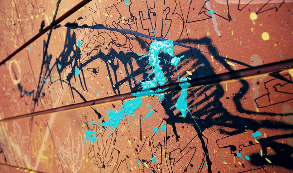 combinaison de couleurs, bleu turquoise, fond rouge terre cuite, abstraction