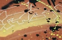technique mixte, graffiti sur produit, tuile bardeau, plaque de terre cuite