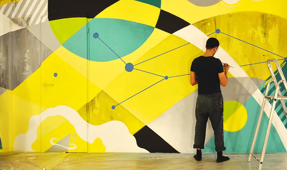 Graffiti art abstrait, courbes, droites, formes geometriques