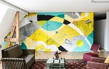 fresque abstraite pour animer les locaux.