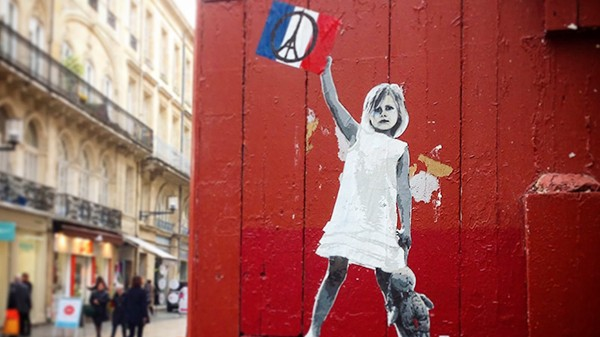 Enfant, collage, rue, paris, france, française, enfance, paix, symbole, street art