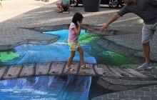 illusion optique anamorphose peinture au sol