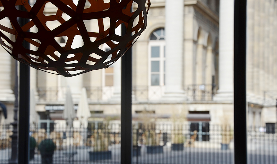 Vue de la place de la Bourse, rue, paris, ville, urbain, fresque