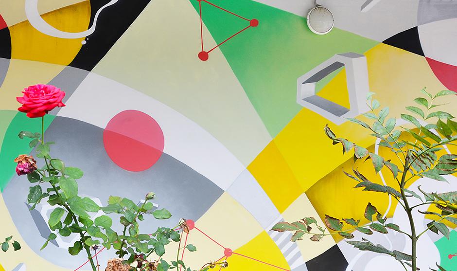 rose, fleur, végétation, plantes, fresque, graphe, graff, graffiti, street art, urban art