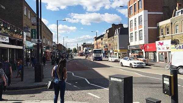 Avenue, ville, rue, populaire, Londres, East London