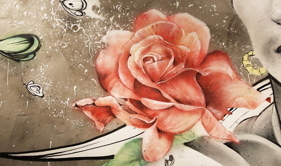 jeune rose, fleur artiste, graffiti street art