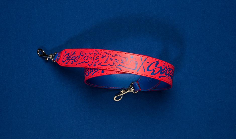Cuir, bandoulière, ceinture, bleu électrique, corail
