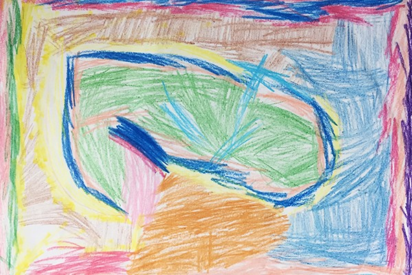 Oeuvre abstraite multicolore par une enfant de 4 ans