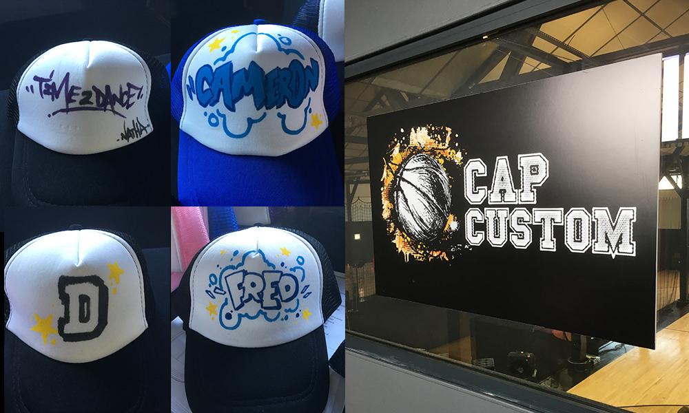 casquettes personnalisées au cours de l'événement de basket