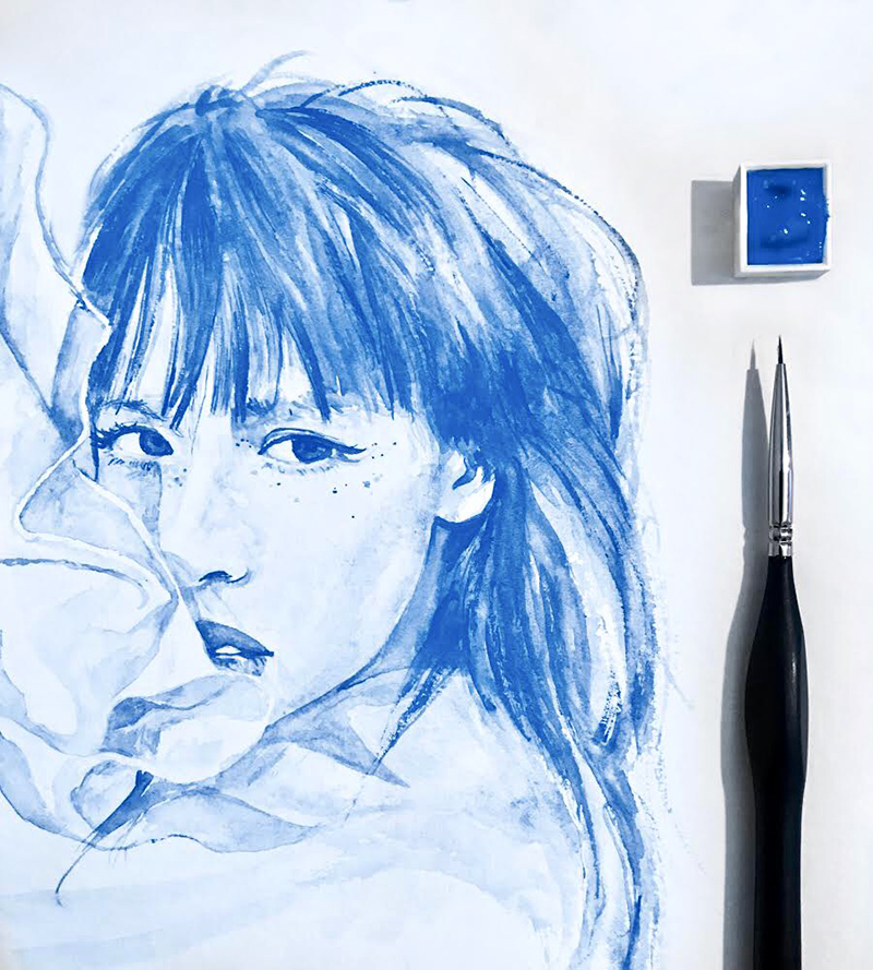 Portrait, féminin, bleu, artiste, aquarelles