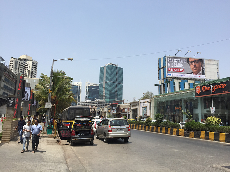 Vue, rue de Bombay, ville, inde, Indienne, circulation