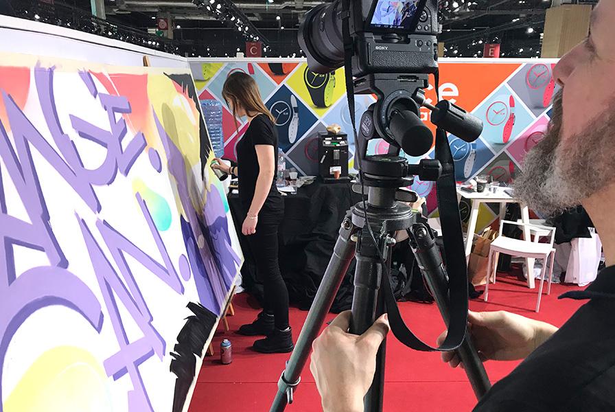 animation, graff, live, art, démonstration, art, tagueuse