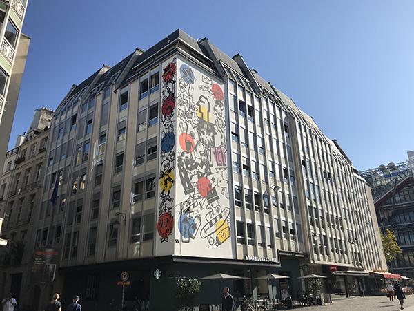 Chatelet, façade, street art, vector, art, Beaubourg