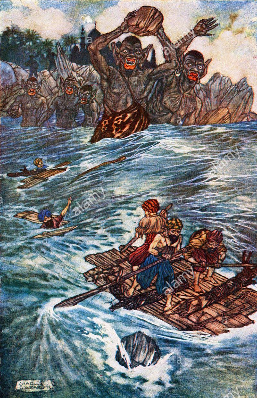Vieilles illustrations, aventure, sinbad, marin