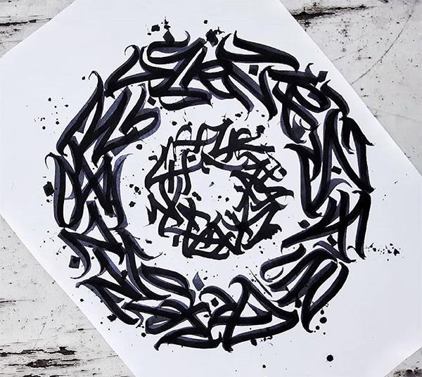 Calligraphie, abstraite, art, calligraphie, lettres, noir et blanc, flow