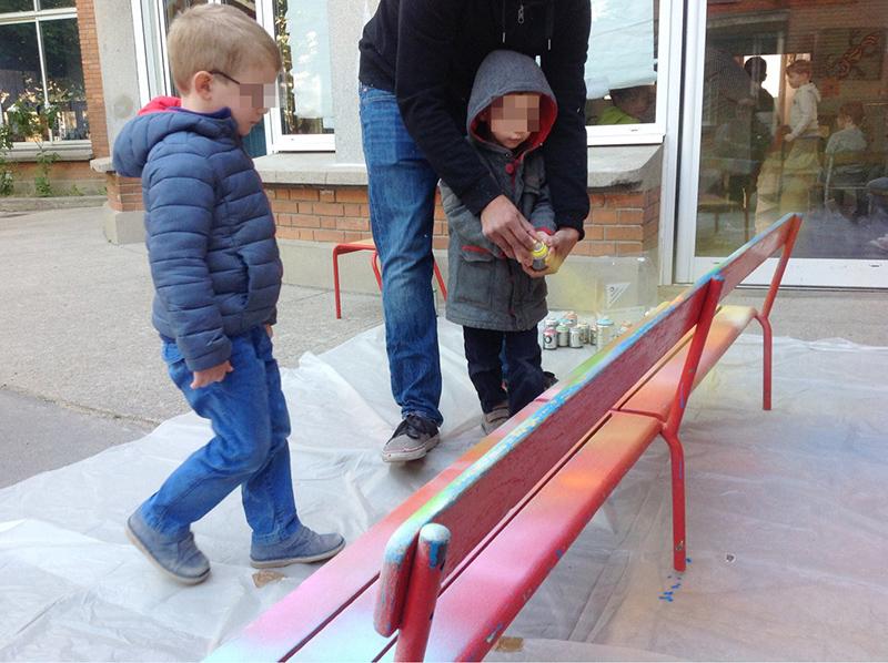 enfant, tag, graff, street art, banc, école, atelier