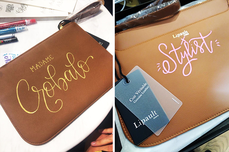 personnalisation, cuir, pochette, luxe