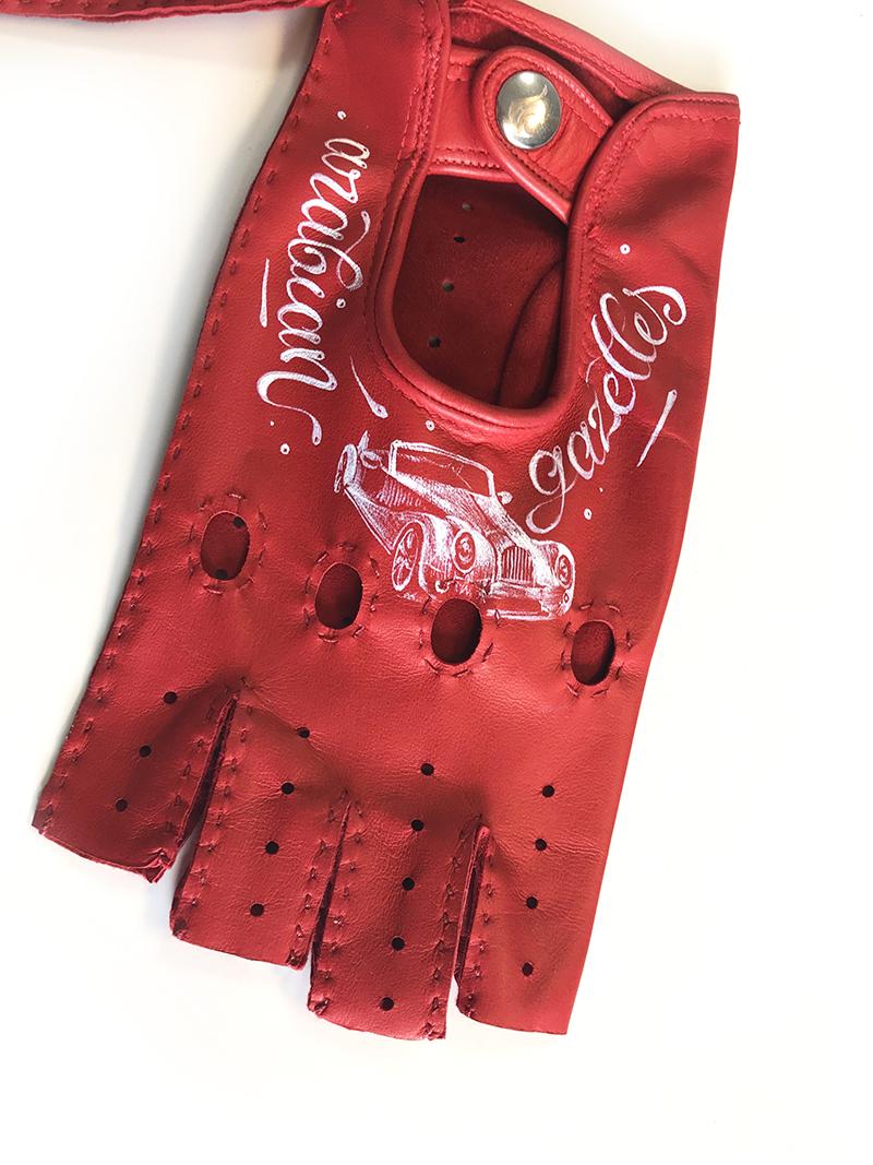 gant, cuir, personnalisé, rouge, arabisant , gazelles, dubai