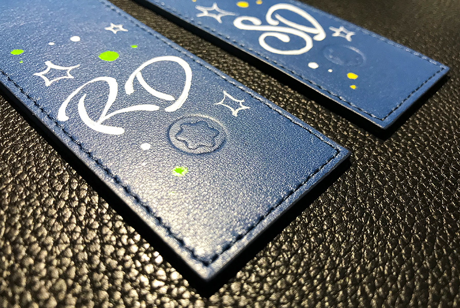 marque page, personnalisation, montblanc , initiales, graff, tague