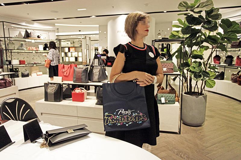 Cliente, magasin, Printemps, Paris, Sac, cuir