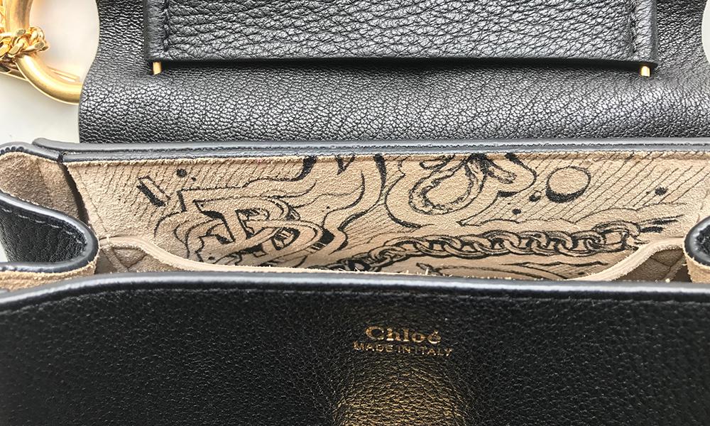 détail d'un sac à main en cuir Chloé
