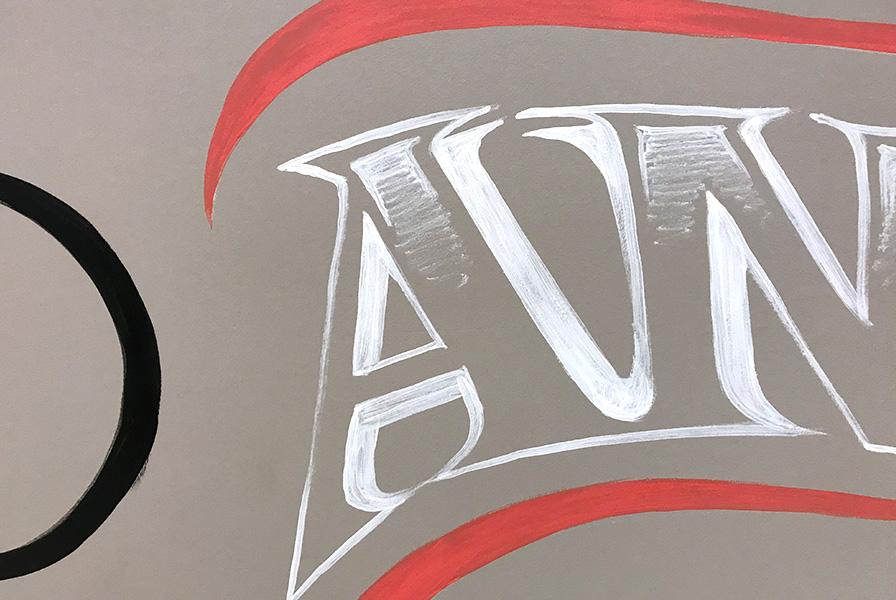 fresque, typographie, calligraphie, pinceau, zoom, détail