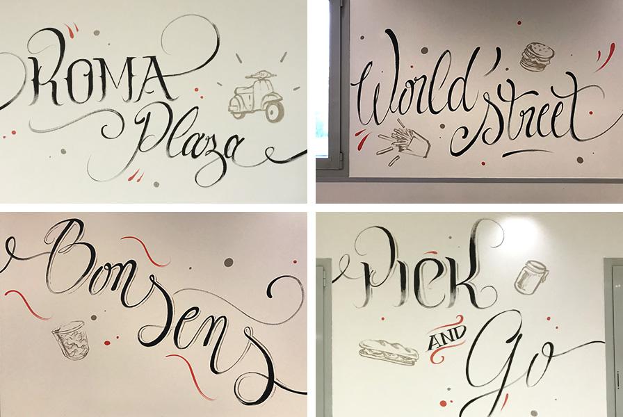 calligraphie, murale, mur, fresque, déco, artistique, connu, célèbre