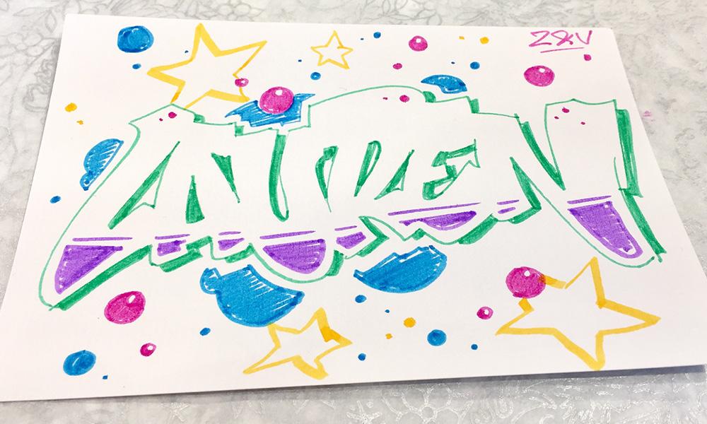graff sur papier, coloriage, dessin en couleurs