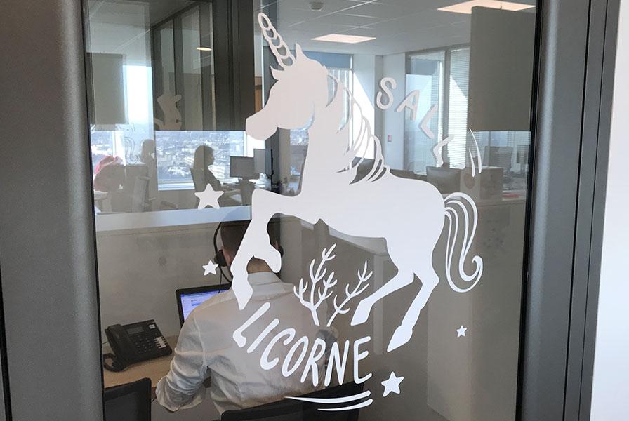 sticker, vitre, habillage, open space, bureaux, paris