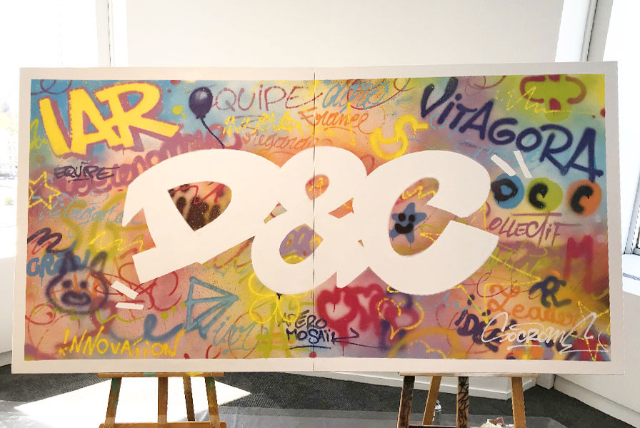 oeuvre collective, toile participative, atelier , graff, street art