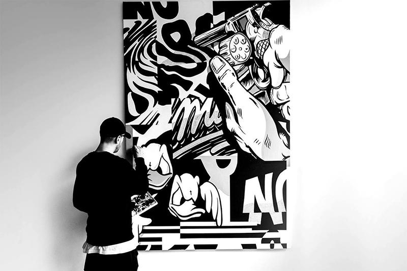 Nairone, graff, typographie, noir et blanc