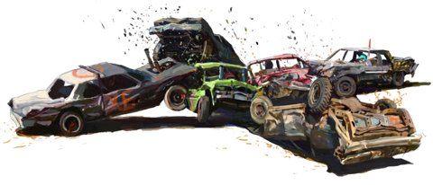 Les textures des véhicules et de l'illustration contrastent bien avec le fond sobre et épuré