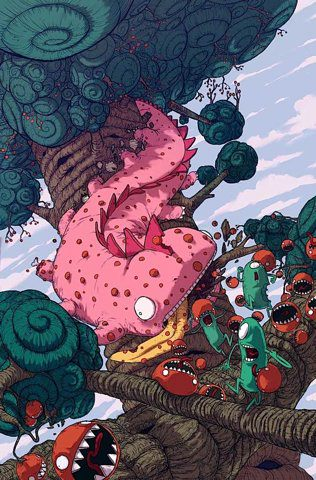 chenille, mangas, personnages, panique, chasse, couleurs