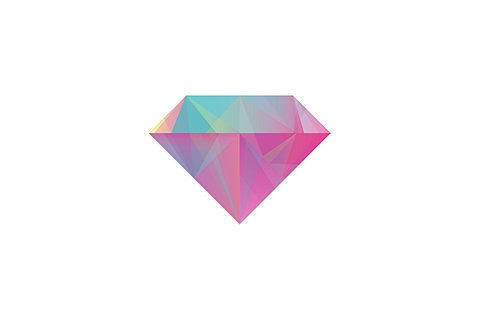 diamant rose magenta dégradés de bleus