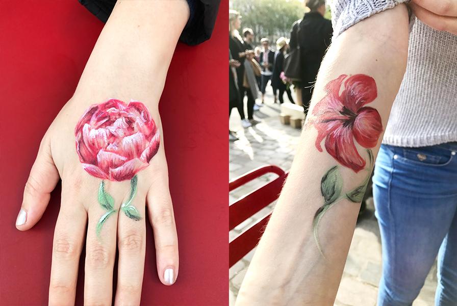 hibiscus, pivoine, tatouage, tattoo, animation body painting