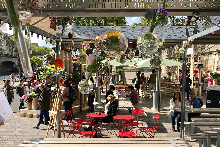 couleurs, fleurs, quais, décoration, événement guinguette