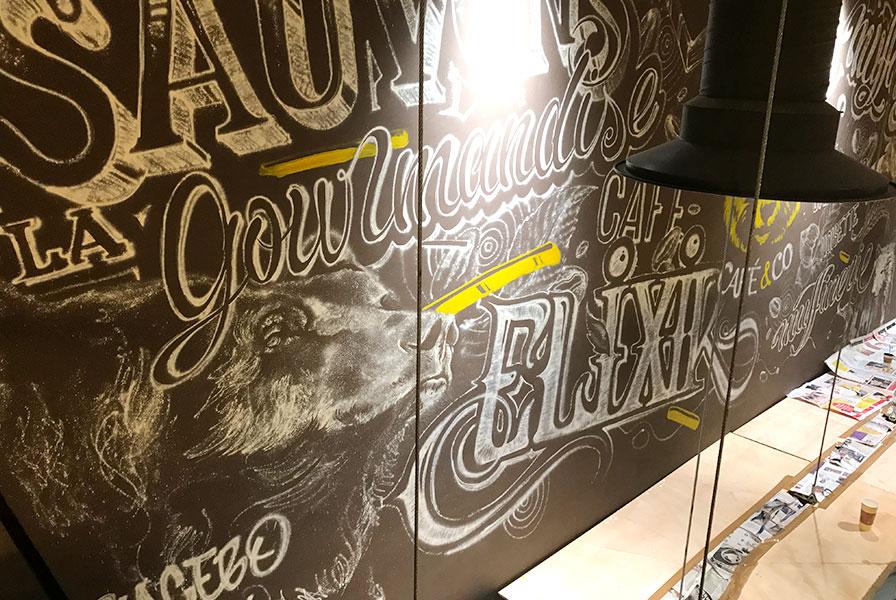 Tête d'ours, graff, personnage, peinture à la bombe, spraycan art, street art, restaurant, graphe