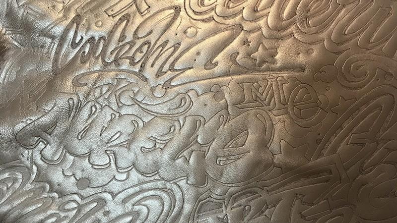 pyrogravure, leather, personnalisation, custom, graffiti, street art