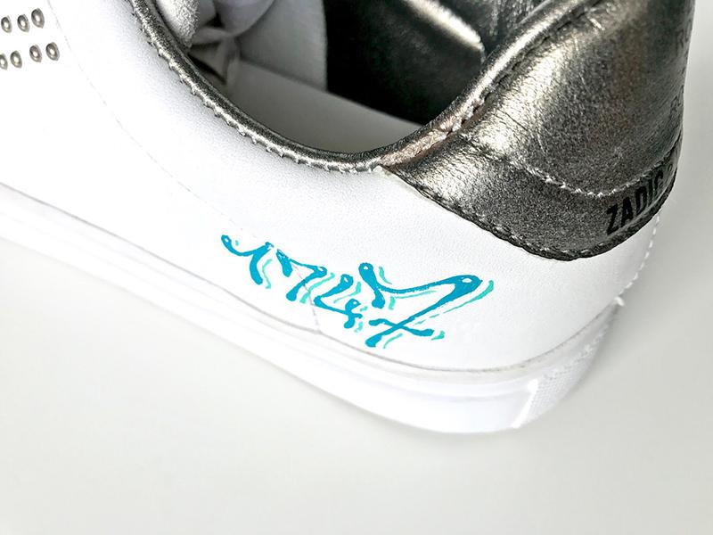 sneakers personnalisées à la main