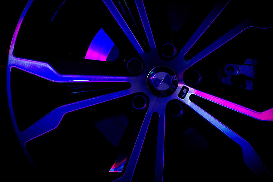 jante, BMW, X2, reflets, éclairage, fluorescent